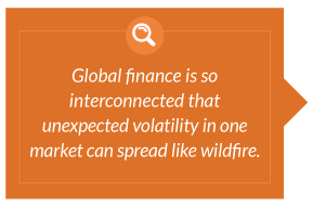 Global finance is so interconnected that unexpected volatility in one market can spread like wildfire.